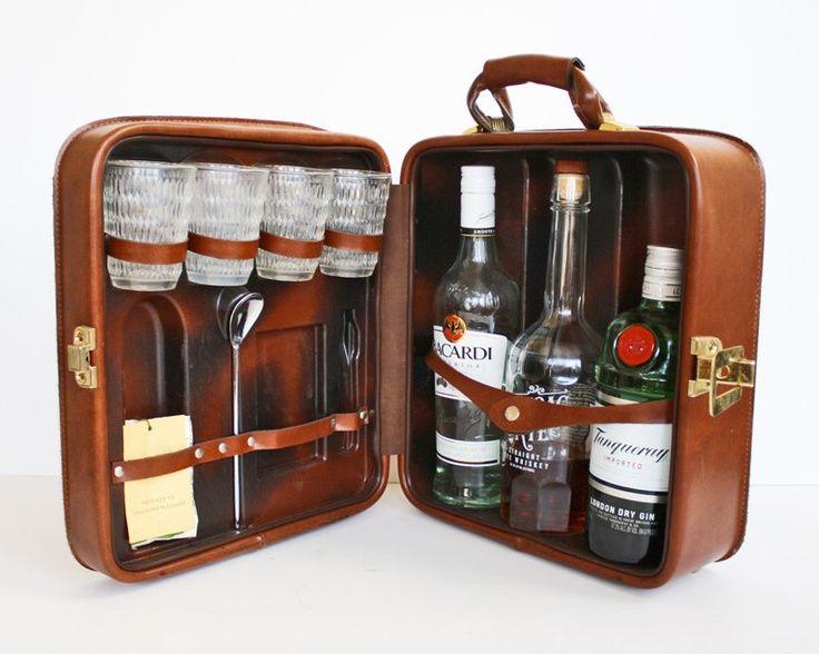 Vintage 1950s Travelling Bar Suitcase Locks Jet Set Suitcases