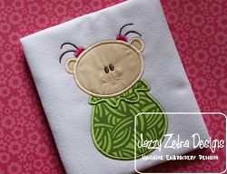 Pea Pod Little Girl Applique - 3 Sizes! | What's New | Machine Embroidery Designs | SWAKembroidery.com Jazzy Zebra Designs