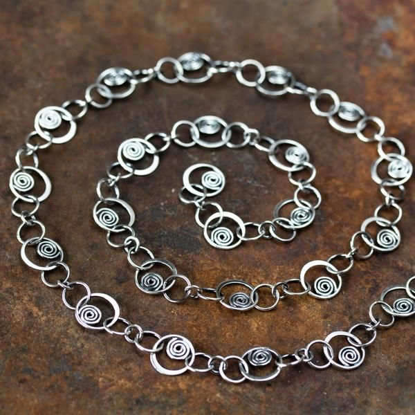 Photo of Spirals in Circles, Unique Silver Links Chain Necklace