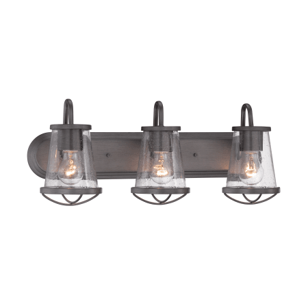Photo of Designers Fountain 87003-WI Weathered Iron Darby 3 Light 24″ Wide Bathroom Vanity Light with Seedy Glass Shades
