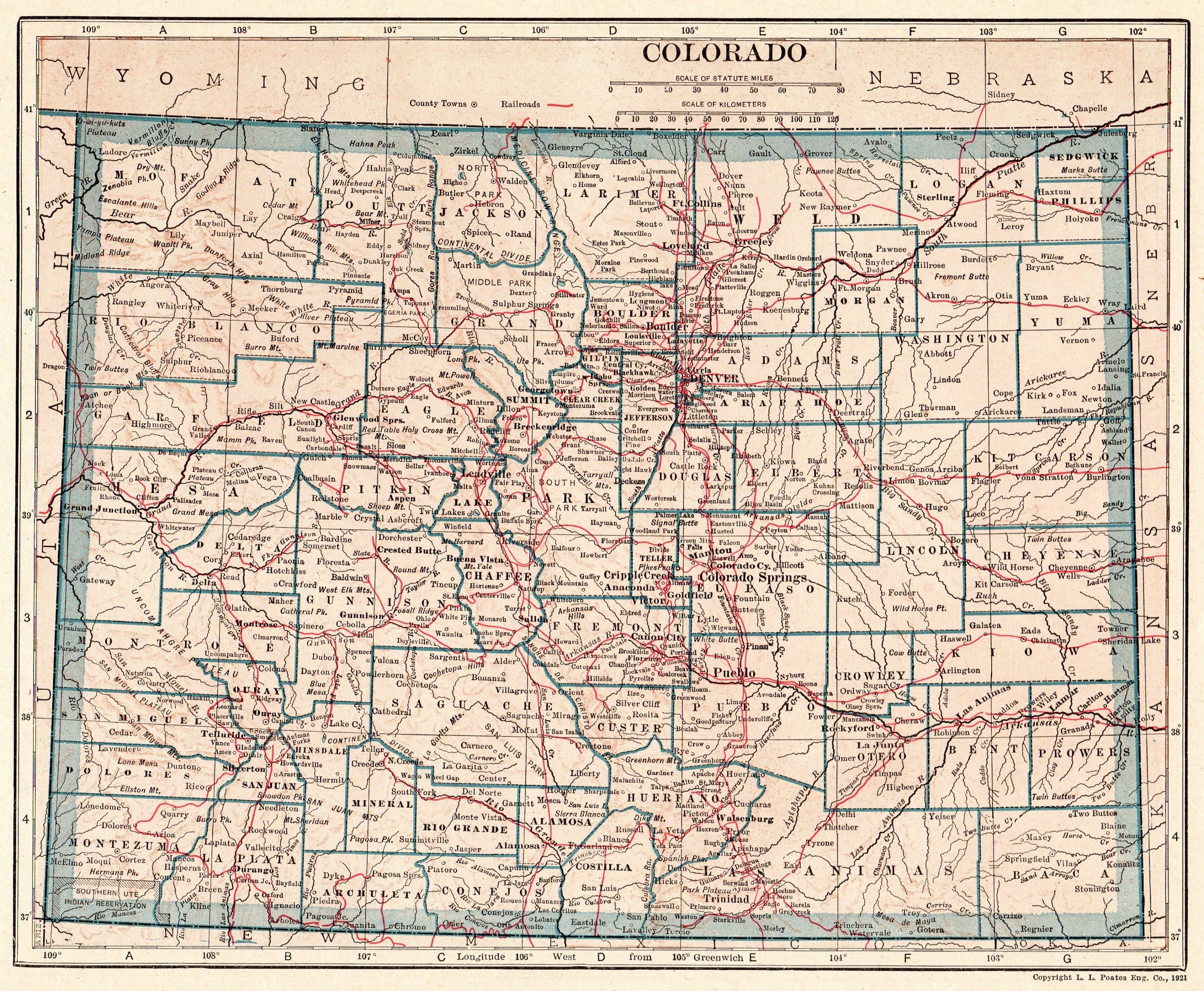 1921 Antique Colorado Map Vintage Map Of Colorado Gallery Wall Art Office Decor Gift For Birthday Wedding Ann Colorado Map Art Gallery Wall State Map Wall Art