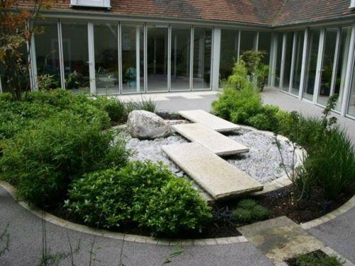 Deco De Jardin Japonais Rond Dvorik Landshaft Sad The