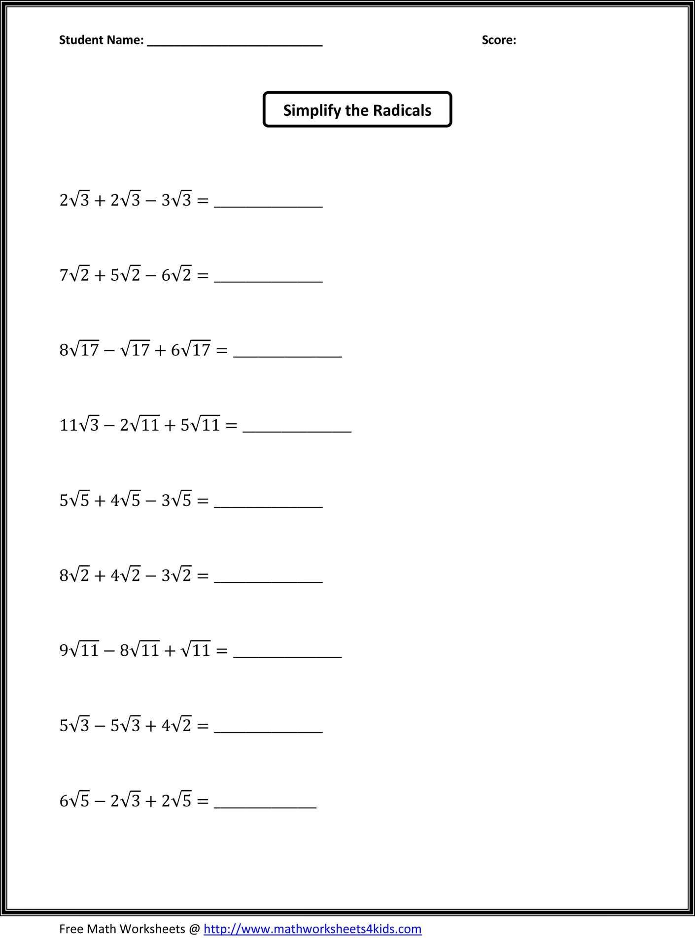 10 A Math Worksheet For 6th Grade