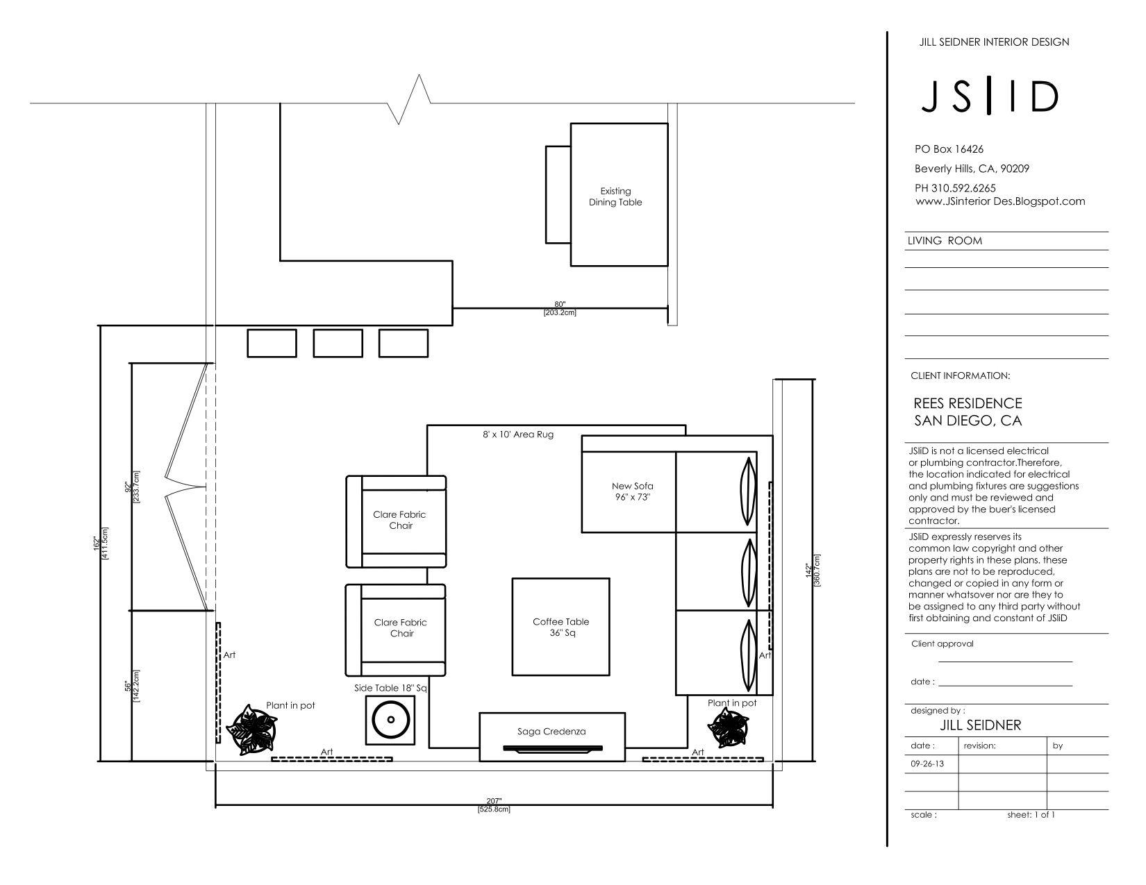 San Diego, CA Residence Living Room Furniture Floor Plan