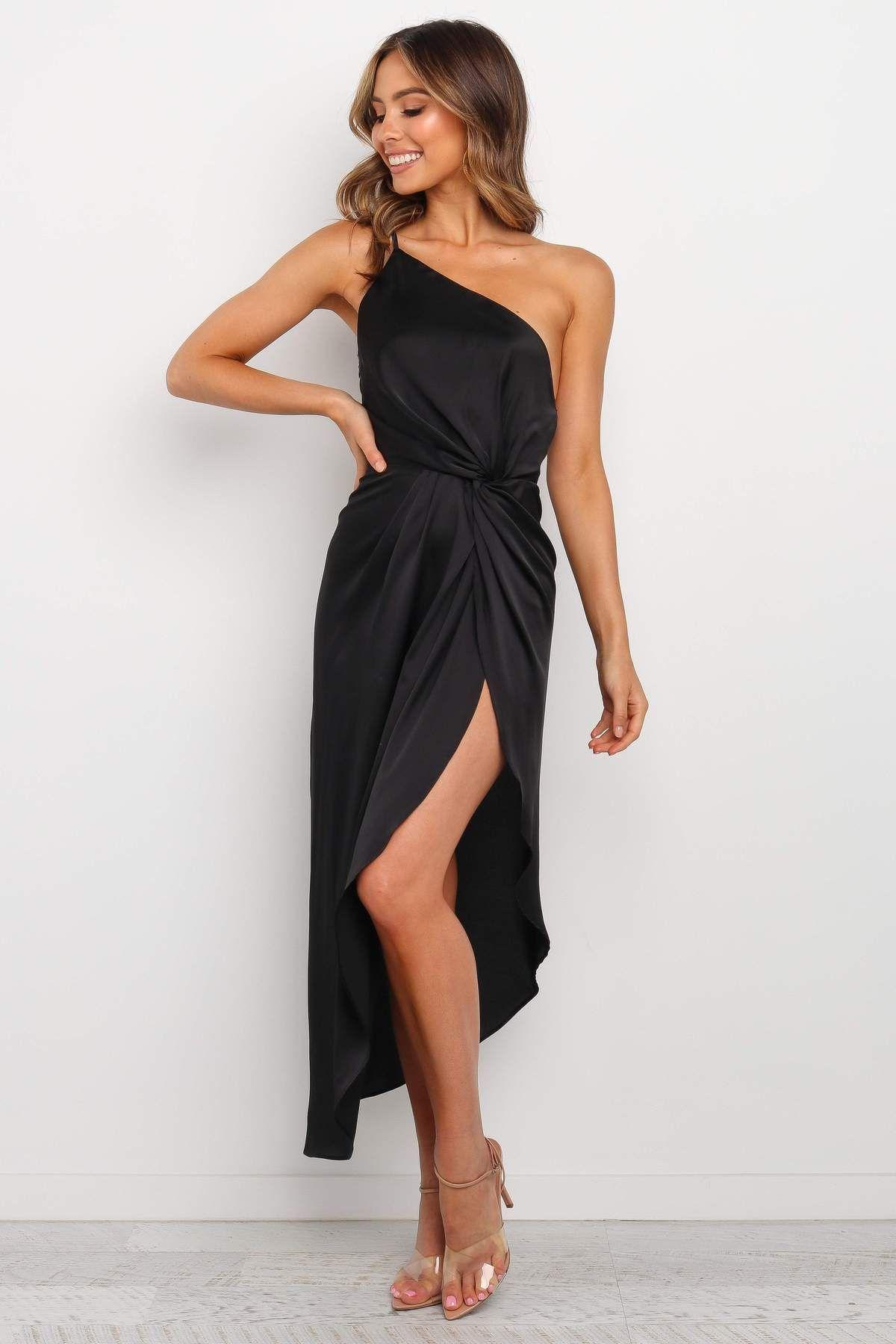 Utah Dress Black Dresses Midi Bridesmaid Dress Black One Shoulder Dress [ 1800 x 1200 Pixel ]