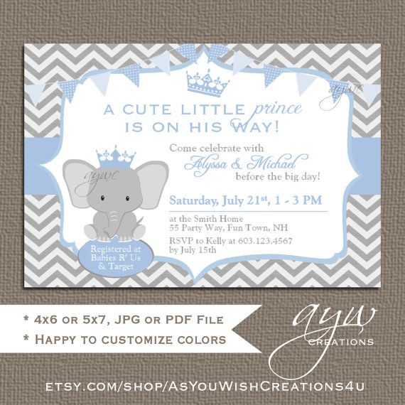 elephant prince baby shower invitations by