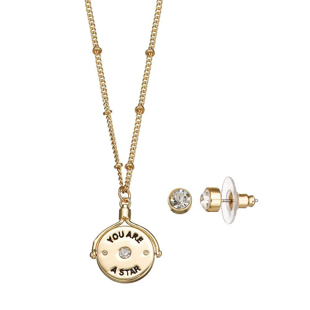 You are a star spinning pendant necklace u stud earring set womenus