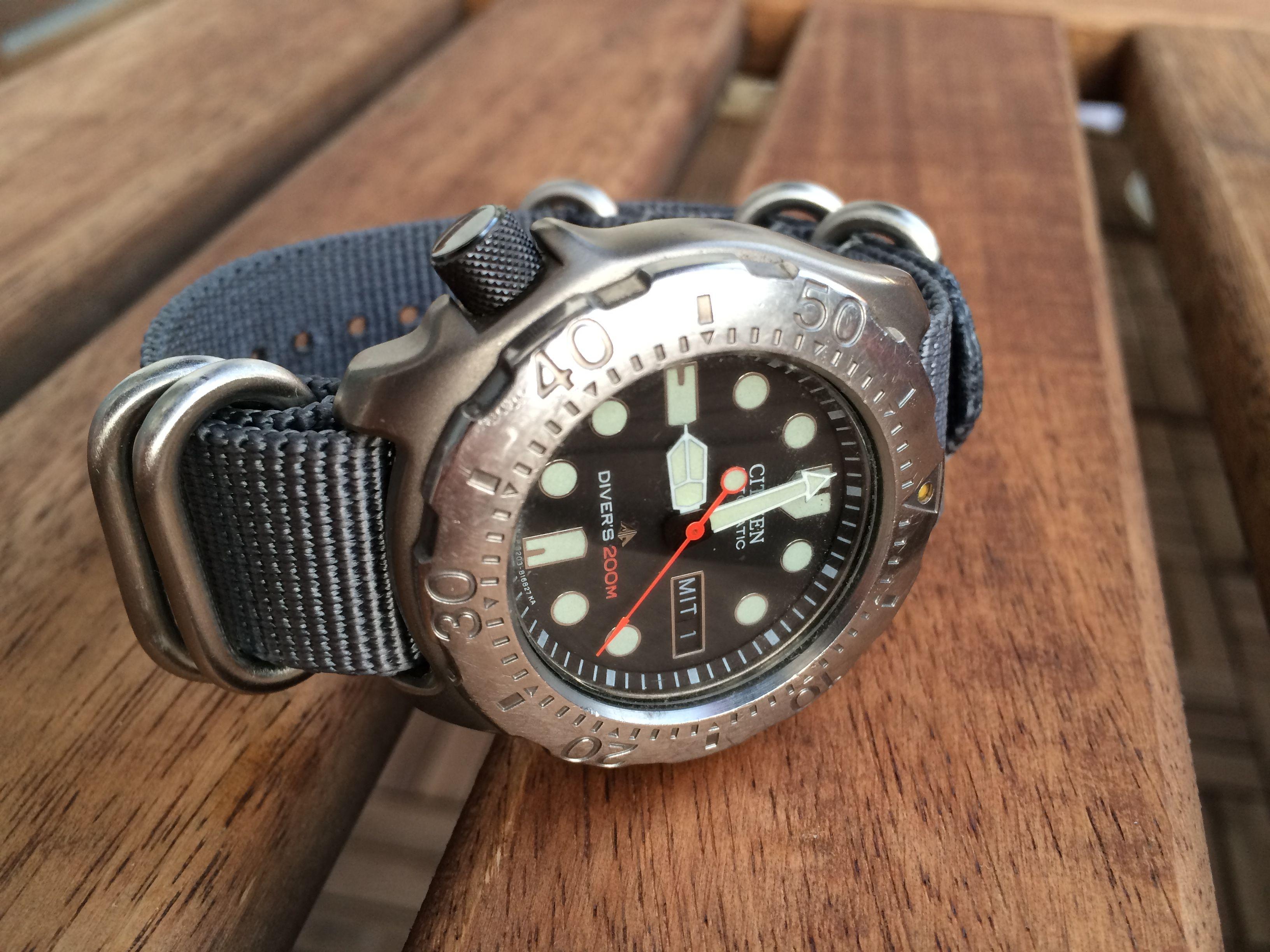 My citizen titanium diver with a zulu strap watch ideas watches watches for men g watch - Citizen titanium dive watch ...