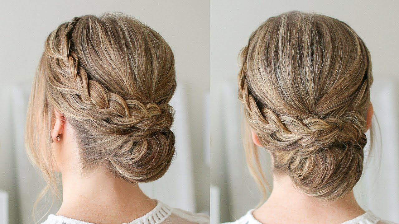 Double Braid Wrapped Roll Bun Missy Sue Youtube Braided Hairstyles Hair Styles French Braid Hairstyles