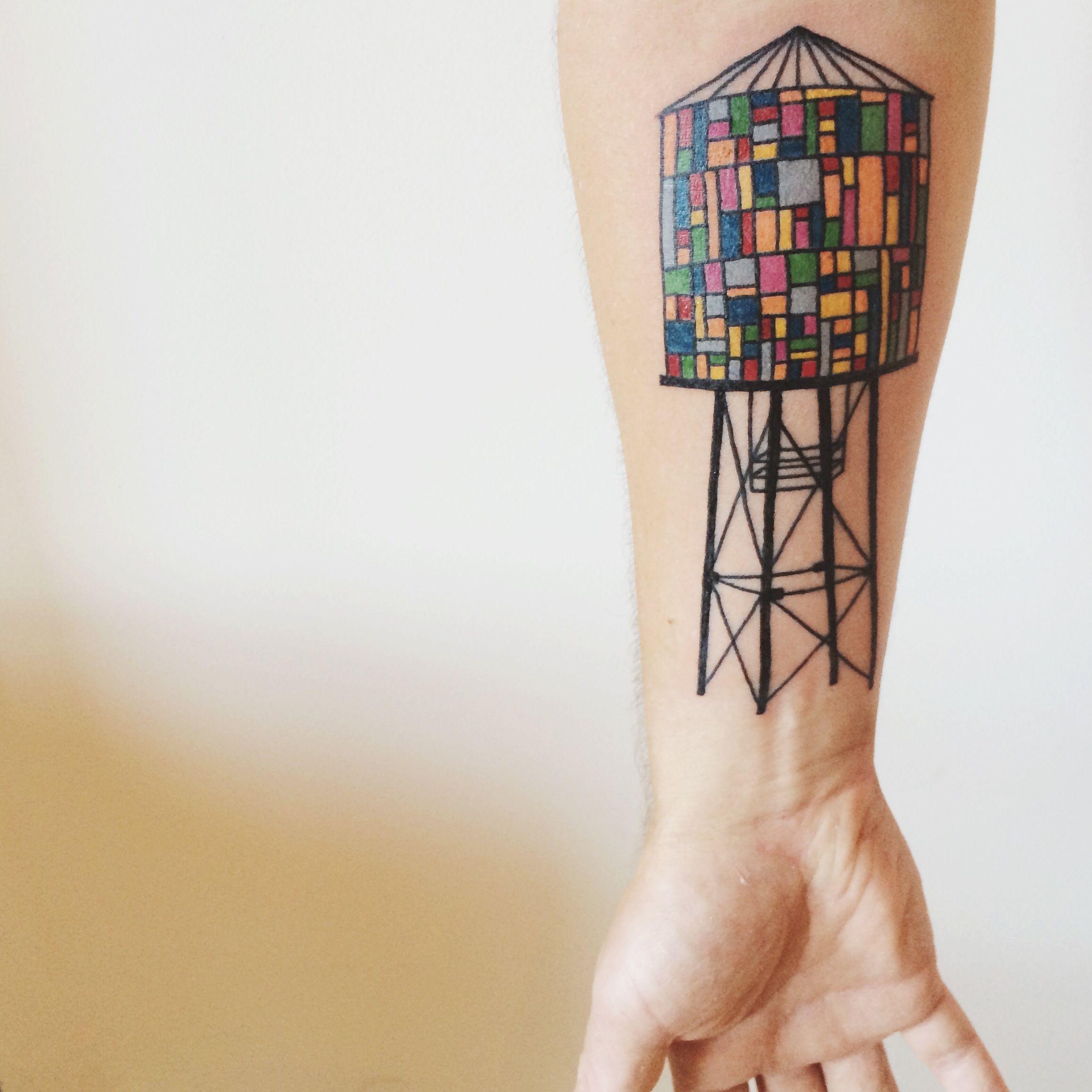 Stained glass Brooklyn water tower tattoo! #tattoo #watertower #gay #art