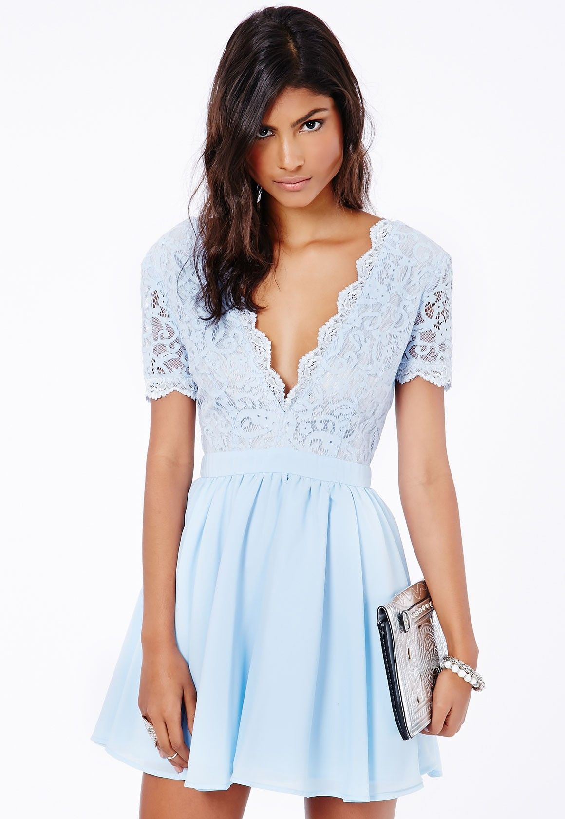 Missguided Mini Plunge Dress Eyelash Neck Lace Puffball In Aleena 9WDIY2EH