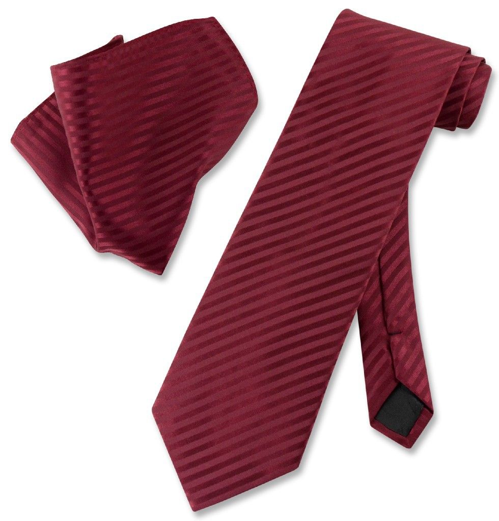 New Vesuvio Napoli polyester striped men/'s neck tie necktie /& hankie set black