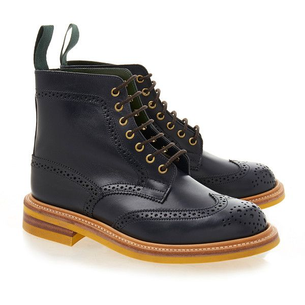Tricker's Stephy Navy Brogue Boot with Yellow Sole (£165) ❤ liked on Polyvore featuring shoes, boots, navy, round cap, navy blue shoes, perforated boots, navy blue boots and trickers brogues