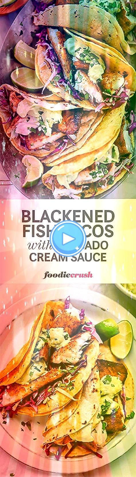 Fish Recipes Bajastyle fish tacos get a blackened cajun fix cooled off with an avocado cilantro tartar sauce and cabbage for a fast and easy taco meal  Bajastyle fish tac...