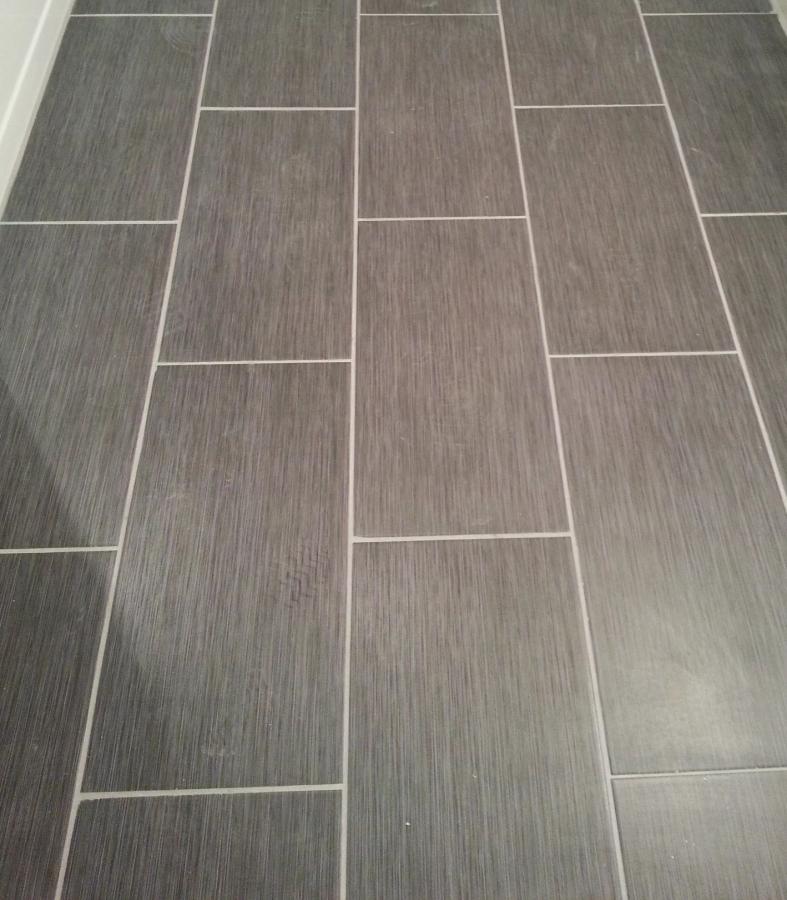 Home Depot Metro Gris 12X24 Tile In My Bathroom! | Bathroom Throughout 101+ Bath...#12x24 #ba… | Home Depot Bathroom Tile, Home Depot Bathroom, Bathroom Floor Tiles