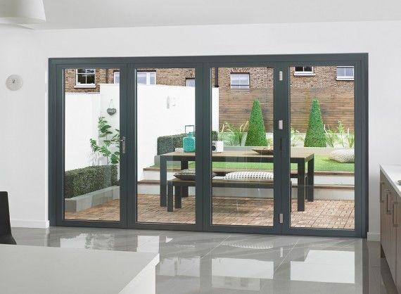 Vufold Supreme Aluminium Bi Fold Doors 12ft Grey Bifold Doors Exterior Doors Aluminium Sliding Doors
