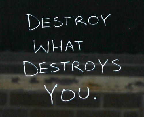 Destroy what destroys you.