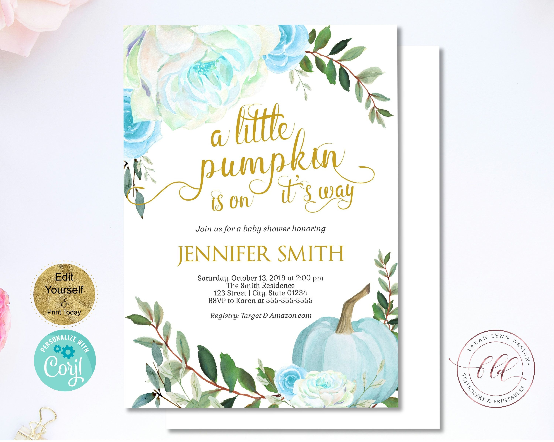 Fall Pumpkin Baby Shower Invitation Boy Printable Invitation Bundle,Blue EDITABLE PM2019 Template A Little Pumpkin is on the Way