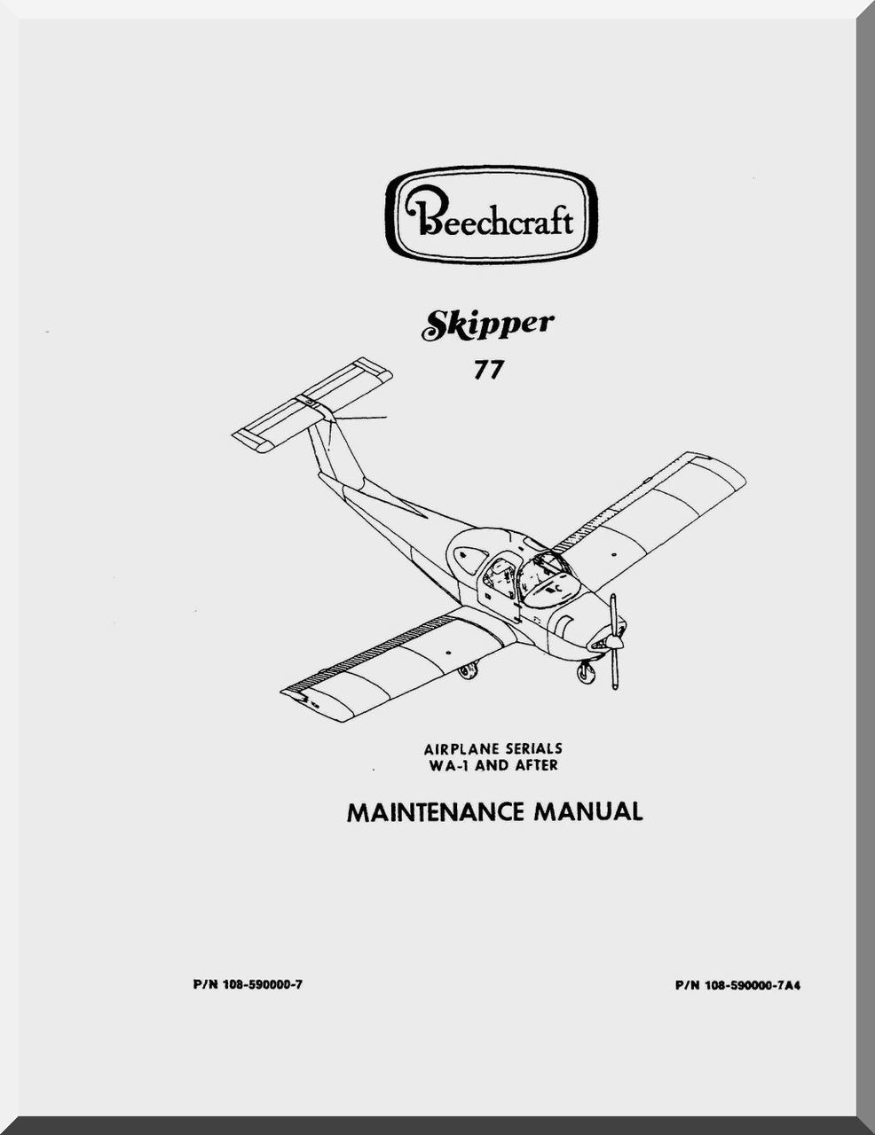 Beechcraft Skipper 77 Aircraft Maintenance Manual - - Aircraft Reports -  Manuals Aircraft Helicopter Engines Propellers Blueprints Publications