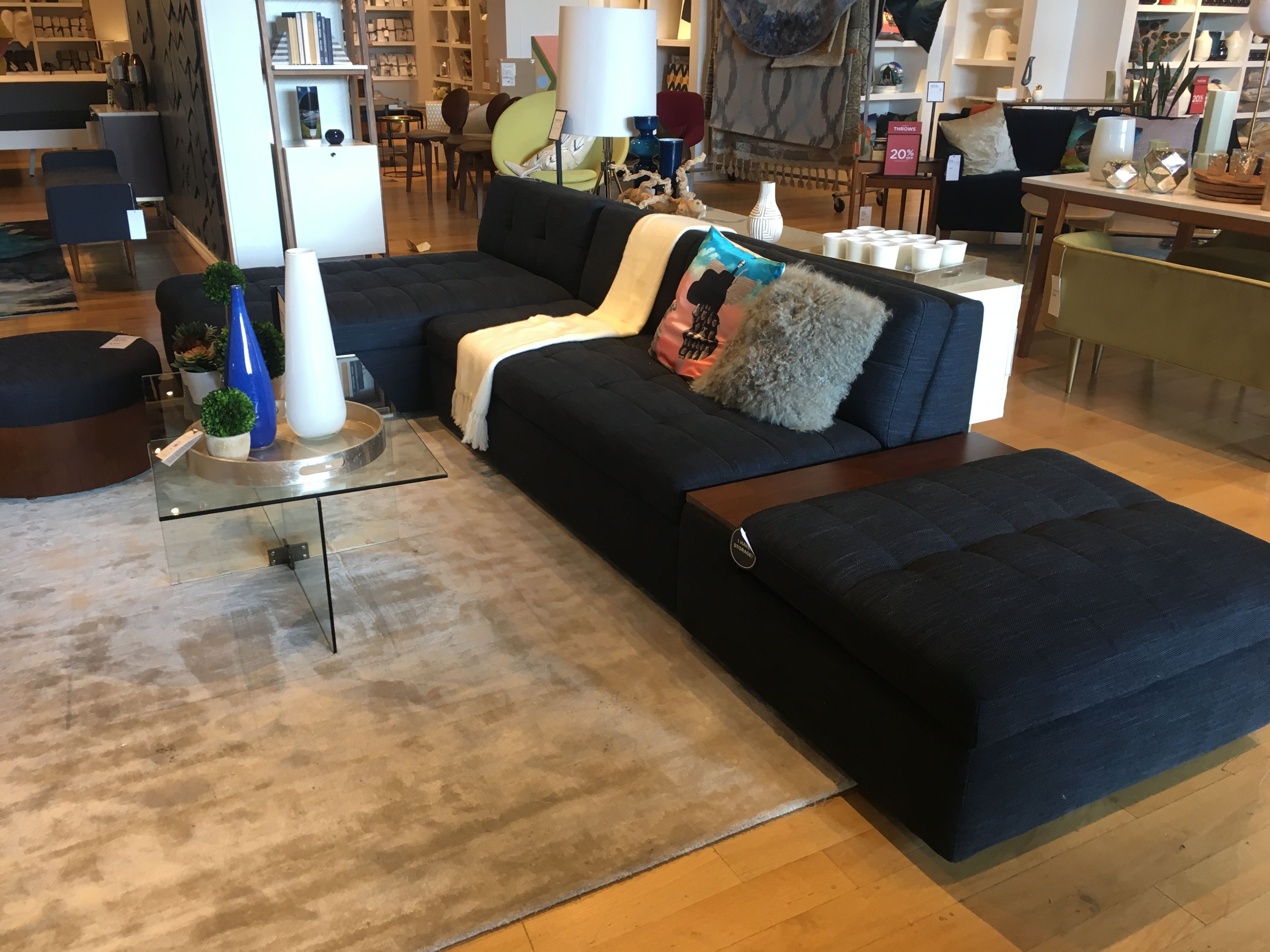 west elm plateau sectional w 3 piece storage sectional and ottoman