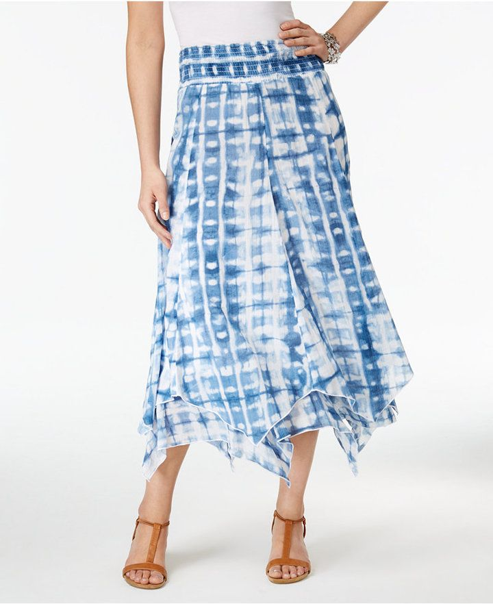 f7811686c Style & Co Petite Cotton Tie-Dyed Handkerchief-Hem Skirt, Created for Macy's