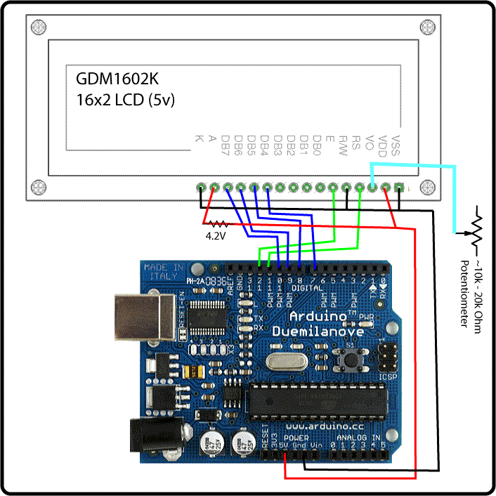Arduino Wired to a 16x2 LCD Display  sc 1 st  Pinterest : arduino 16x2 lcd wiring - yogabreezes.com