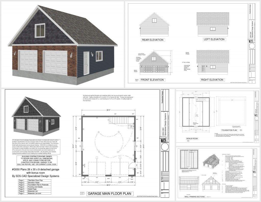 G550 28 X 30 X 9 Garage Plans With Bonus Room Garage Plans Detached Large Garage Plans Garage Plans With Loft