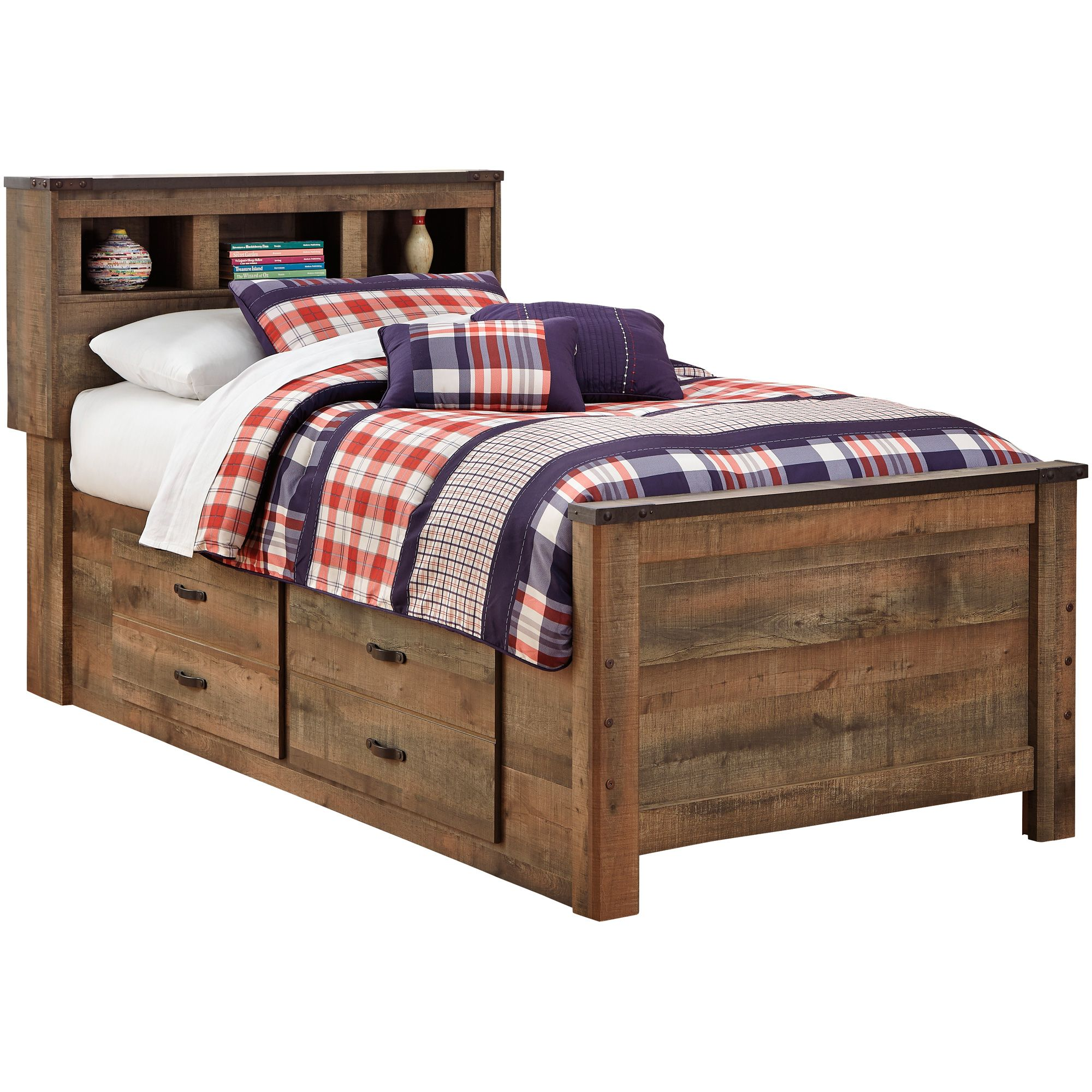 Trinell Brown Twin Captains Bed Bookcase bed