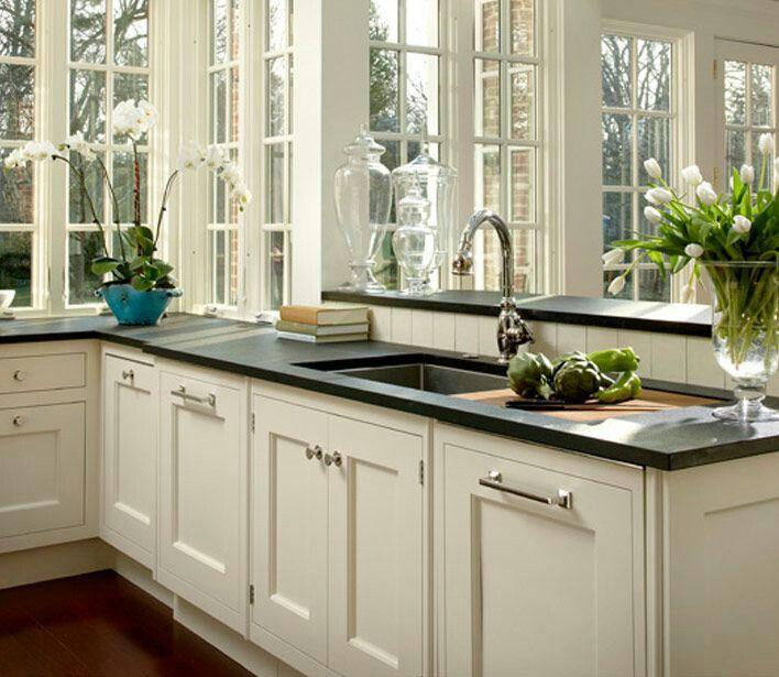 White Cabinets With Black Granite: 'Creamy' Sherwin Williams