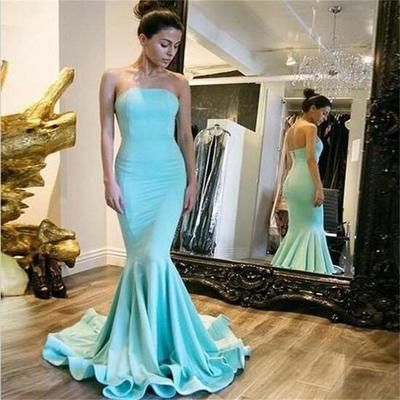 Simple Design Strapless Prom Dresses, Popular Mermaid Zip Up Prom Dresses, 2017 Cheap Prom Dresses, PD190436 from FoucsDresses