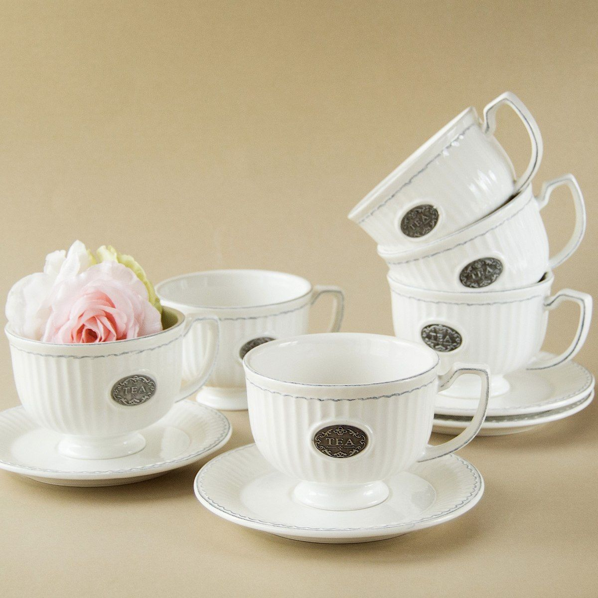 Juego de 6 tazas de te porcelana blanca con logo tazas for Tazas porcelana