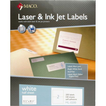 Maco, MACML0200, White Half-sheet Internet Labels, 200 / Box