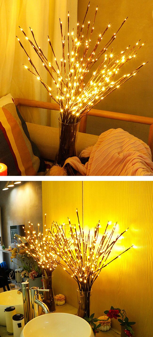 Willow Branch Lamp Floral Lights Bulbs Home Christmas ...