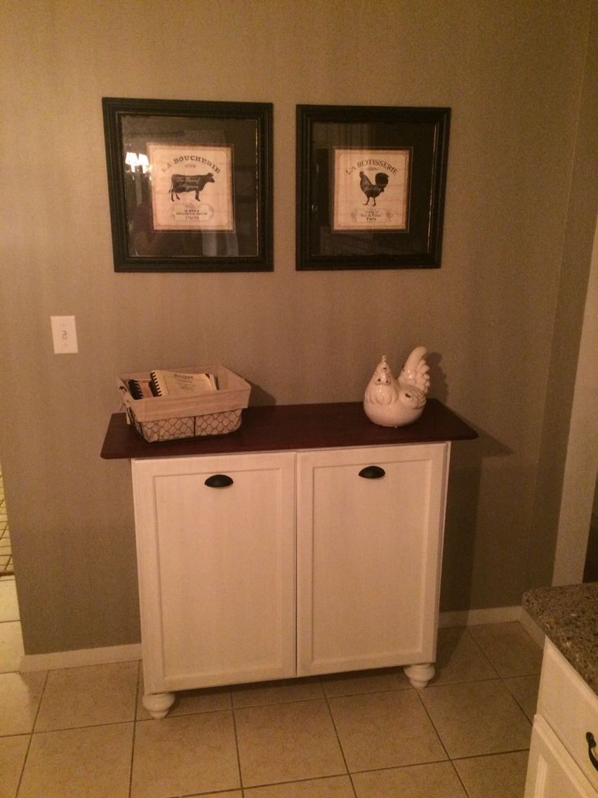 Diy Double Tilt Out Trash Can Made With Unfinished Wall Cabinet From Home Depot Furniture Feet Painted Trash Can Cabinet Woodworking Desk Plans Diy Furniture