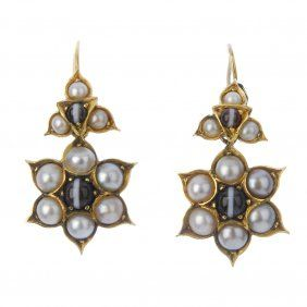 A Pair Of Late 19th Century Gold Banded Agate And Split Pearl Bobs