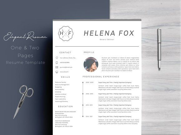 4 Pages Elegant Resume Template @creativework247 Resume Help - resume template for pages