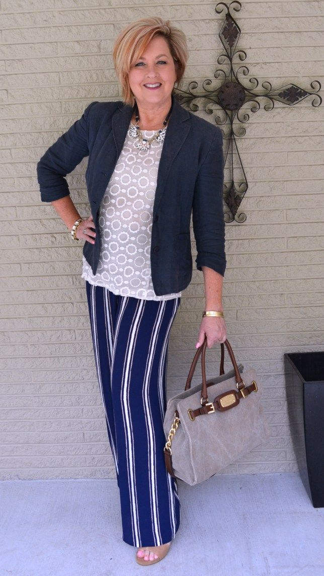 50 Is Not Old Blog Takeover Striped Palazzo Pants