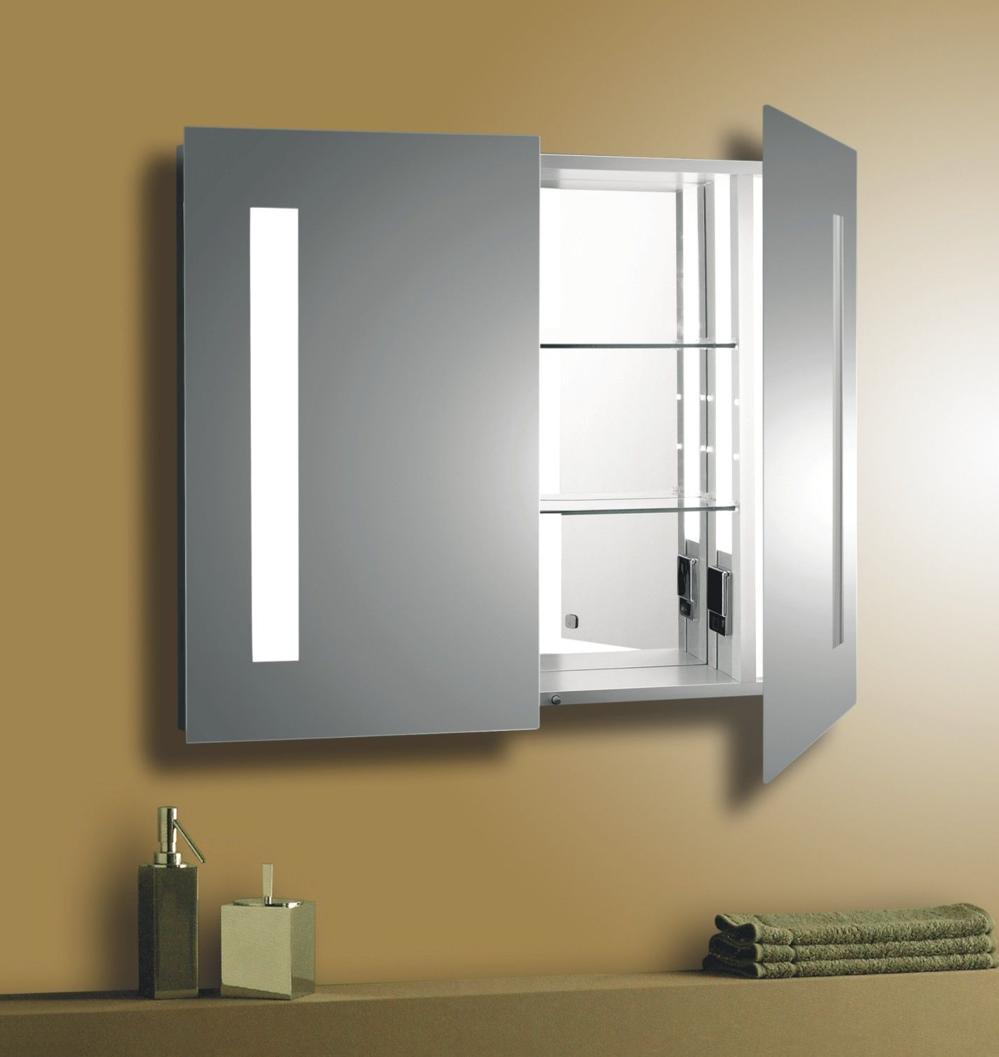 Bathroom Mirrors And Lighting Cool Oak Medicine Cabinet With Mirror And Lights And