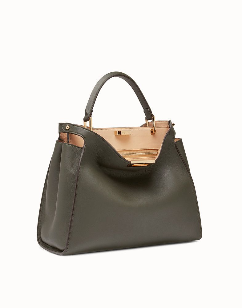 c4cd1f65efd5 FENDI PEEKABOO ESSENTIAL - Gray-green leather handbag - view 2 detail