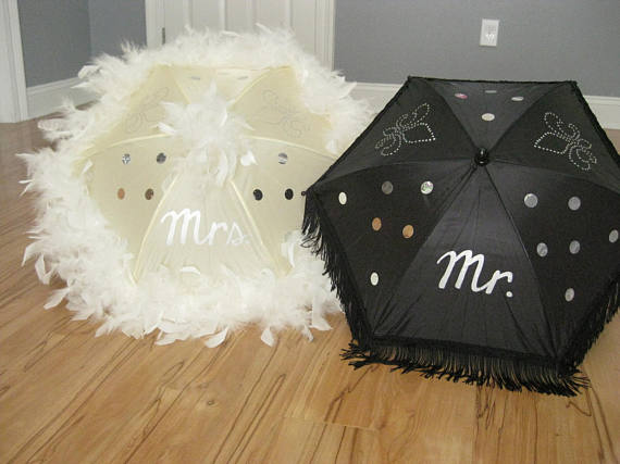Second Line Wedding Umbrella Mr Mrs Authentic New Orleans Set Of