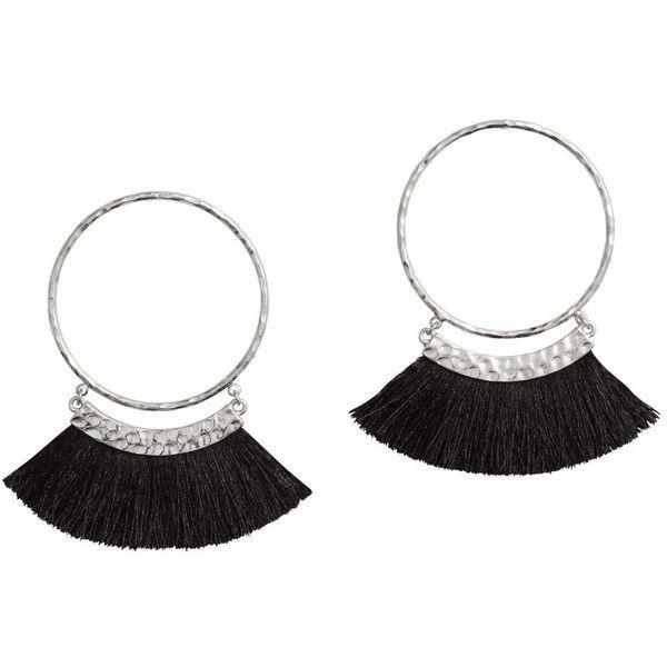 H&M Earrings with Fringe $9.99 (32 BRL) via Polyvore featuring jewelry, earrings, round earrings, metal earrings, earring jewelry, hammered jewelry e metal jewelry