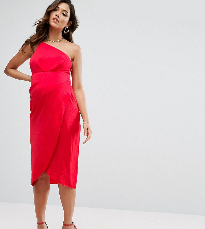 8b1565ab2bbae ASOS Maternity One Shoulder Drape Midi Dress - Red   Baby shower ...