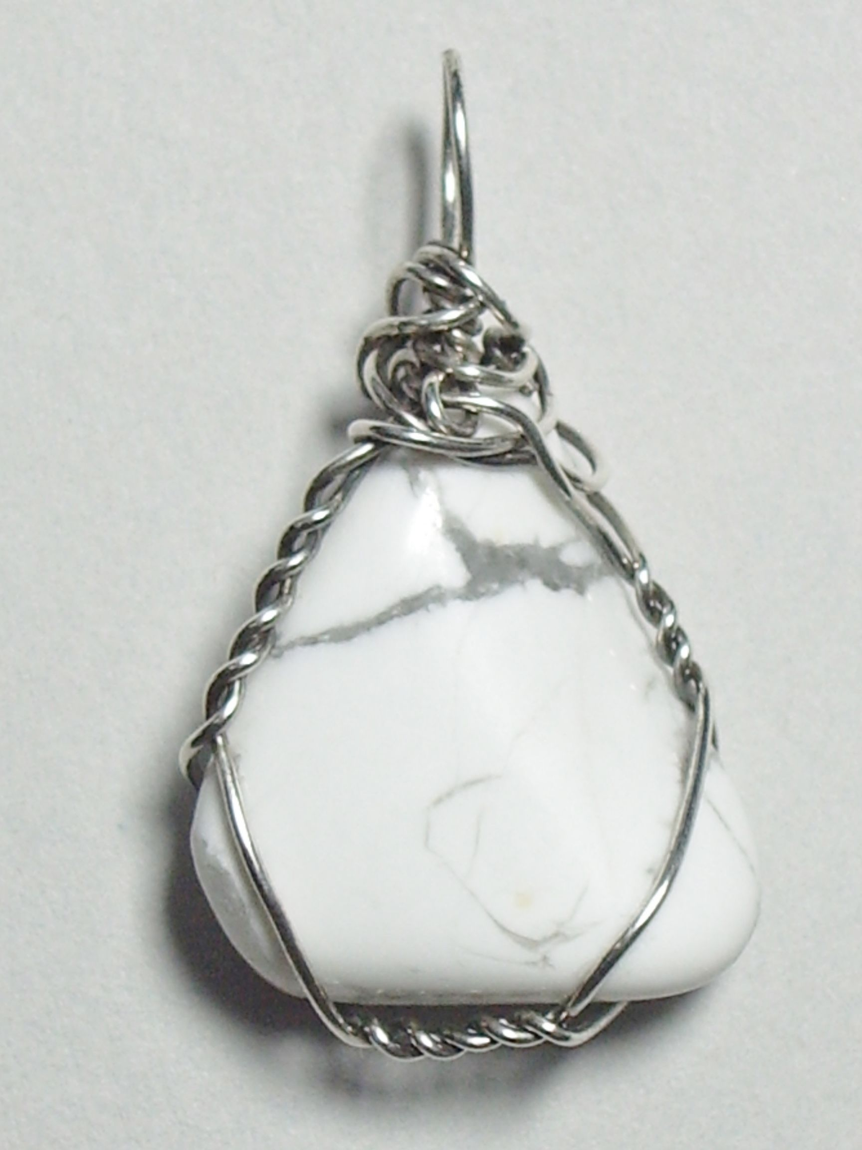 Sterling Silver wire wrapped Howlite - unique handmade pendant for ...