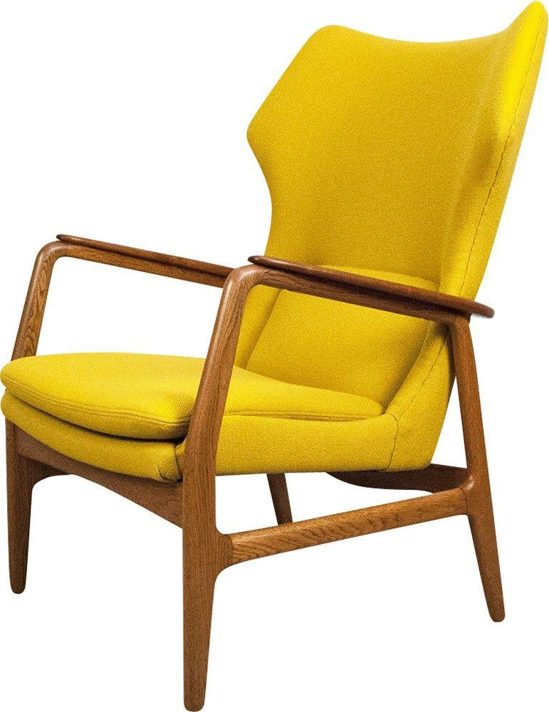 Vintage wing armchair in teak and oak designed by Aksel Bender MADSEN for Bovenkamp 60s