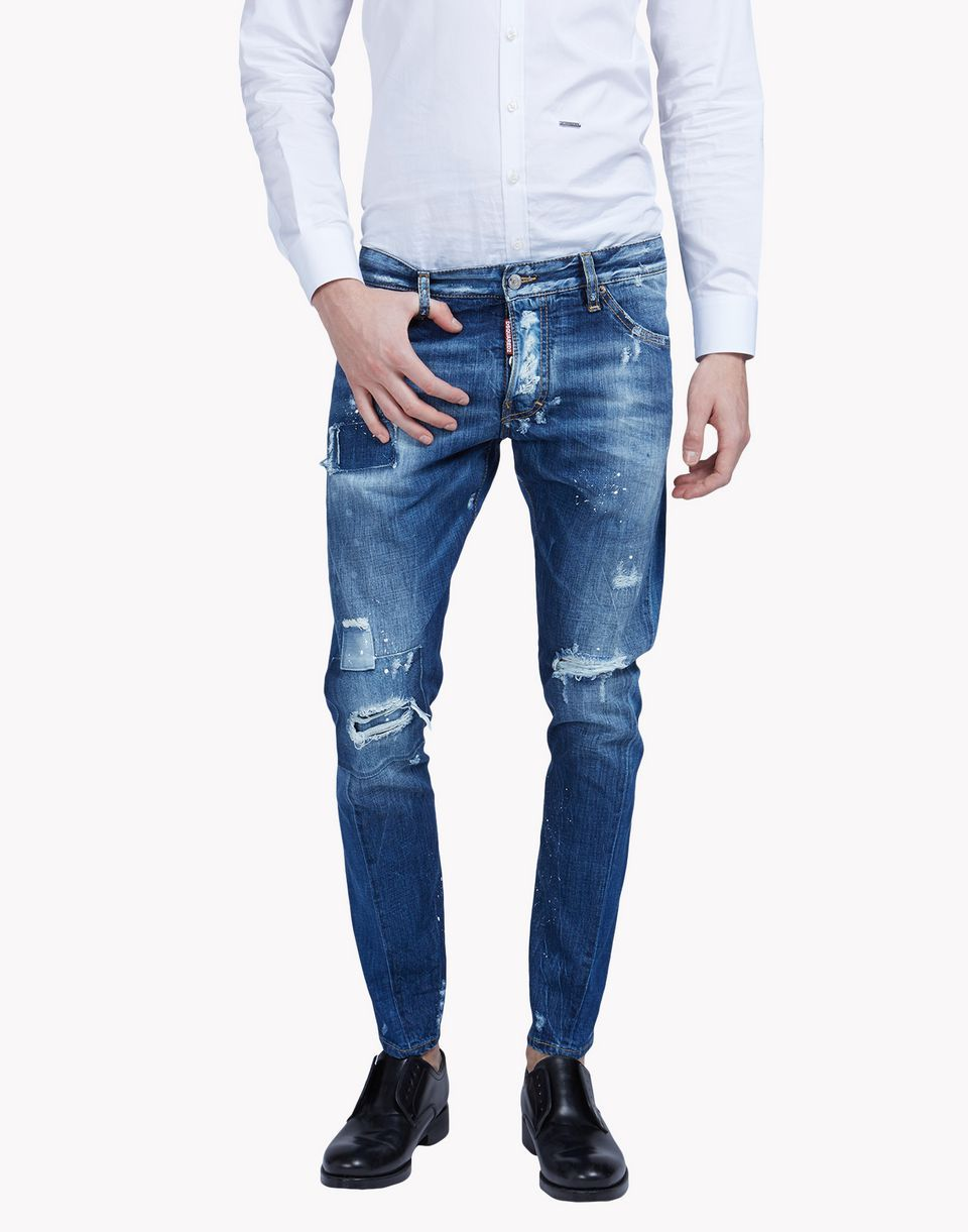 Sexy DSQUARED2 Sexy Washed Patched Denim Blue women's Jeans 33BT568
