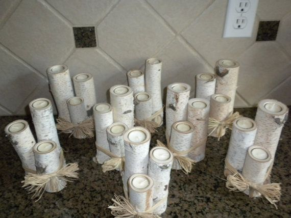 Birch candle holders sets of 3 white birch votive candle for White birch log crafts