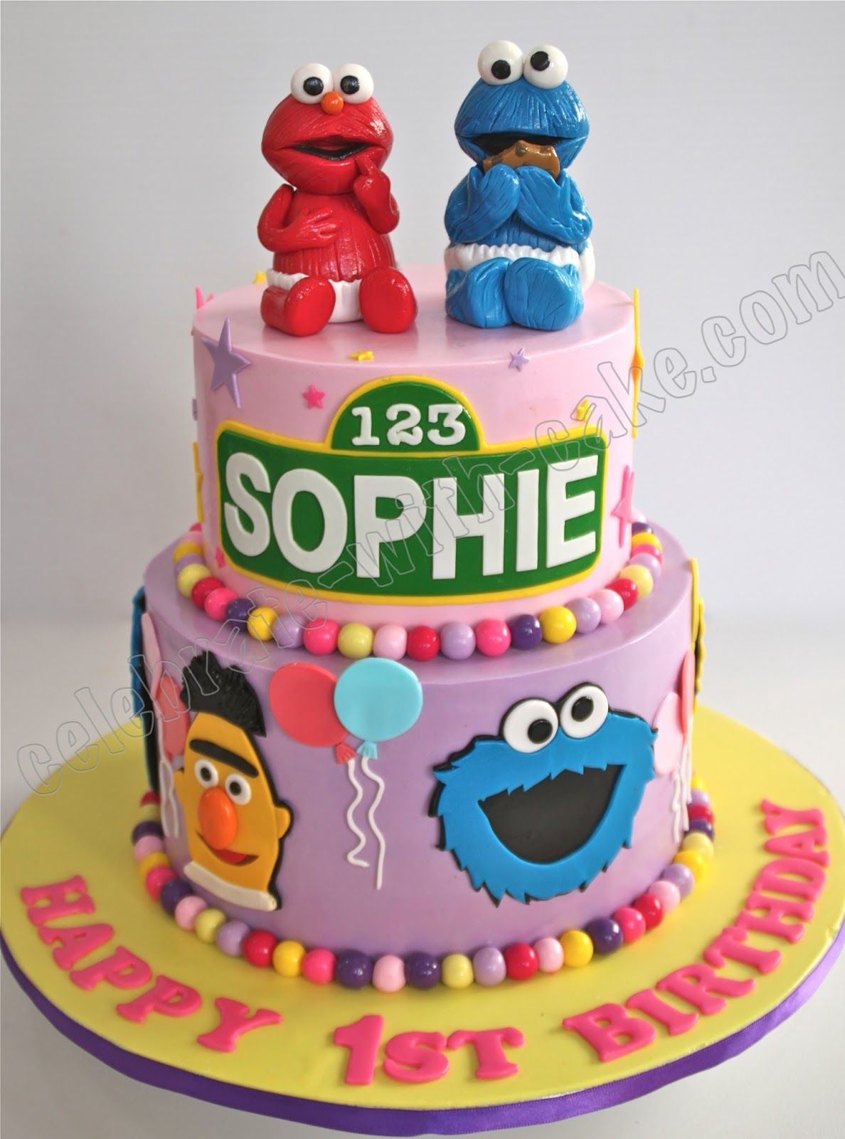 Excellent Image Result For Girls Sesame Street 1 Tier Fondant Cake With Personalised Birthday Cards Paralily Jamesorg