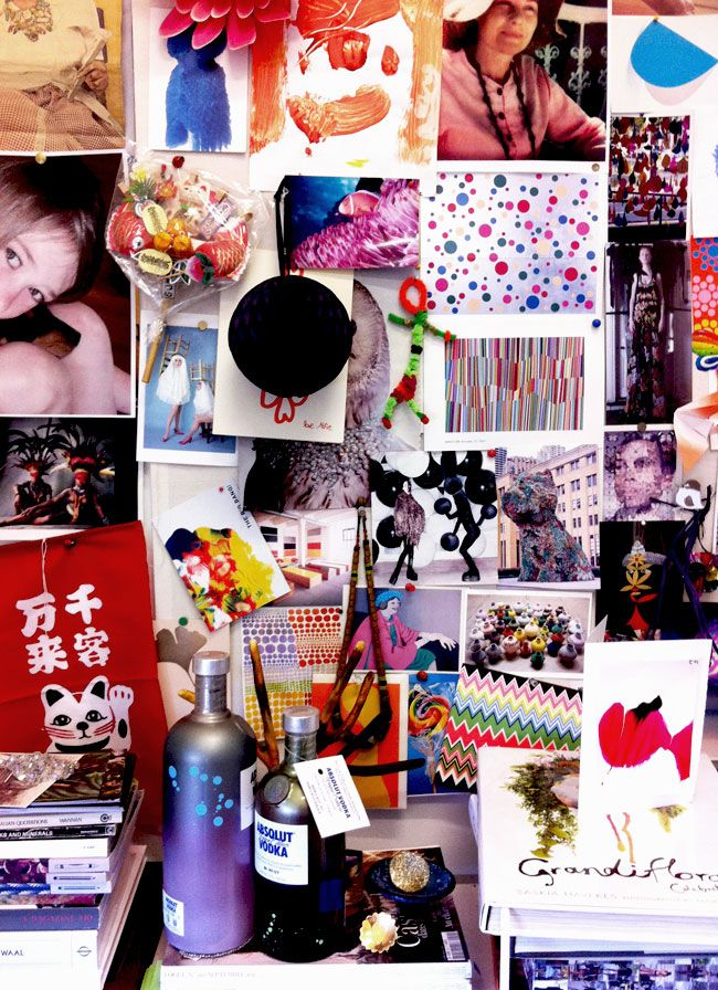 Louise Olsen studio wall at the Dinosaur Designs Studio featured on Share Design