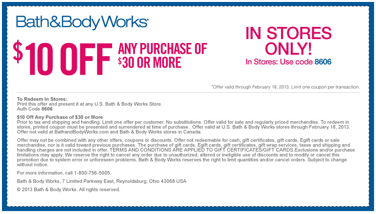 10 Off 30 At Bath Body Works Coupon Via The Coupons App Printable Coupons Free Printable Coupons Coupon Apps