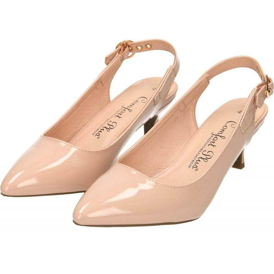 Comfort Plus Wide Fit Kitten Heel Slingback Patent Shoes Matt Court Pointed Toe Kitten Heels Patent Shoes Heels